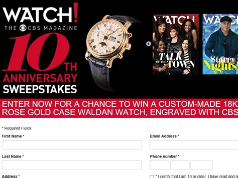 magazine sweepstakes the cbs watch magazine 10th anniversary sweepstakes