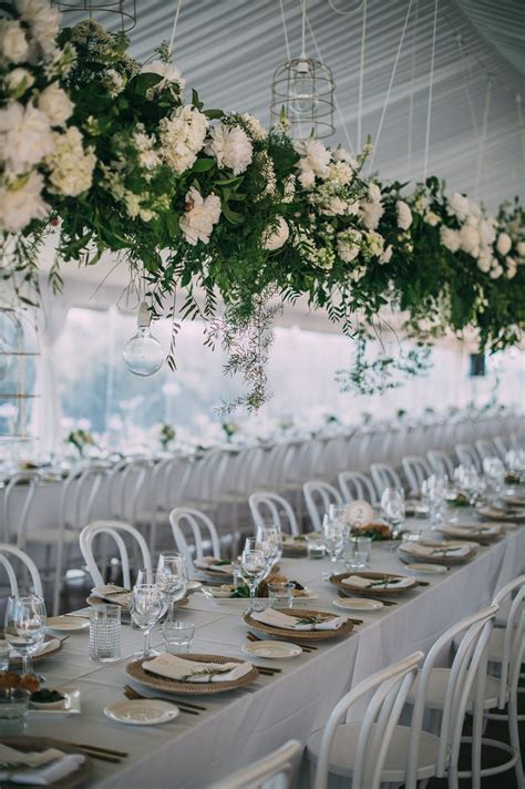 Wedding Reception / White Bentwood Chairs / Hanging