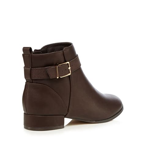 the collection womens brown leather ankle boots from