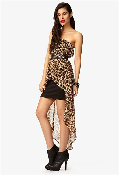 Leopard Dress 9863 1 lyst forever 21 strapless leopard print high low dress in black