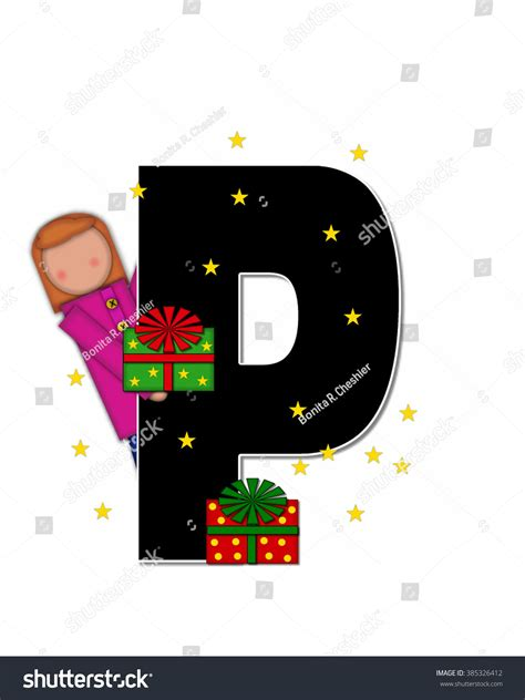 Letter Golden Child Letter P Alphabet Set Children Stock Illustration 385326412