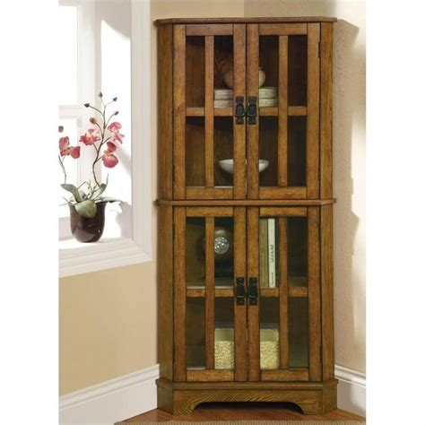 coaster 4 shelf corner warm brown oak curio cabinet ebay