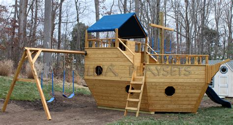 backyard pirate ship plans playhouse swing set plans home 187 outdoor wooden playsets