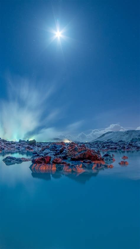 wallpaper blue lagoon moonlight iceland  nature