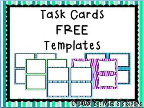 Blank Task Card Template free task card templates task cards more