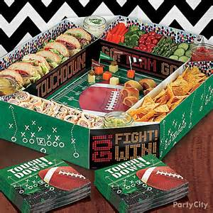 First Birthday Cake Table Decoration Football Stadium Snack Tray Idea Game Day Football Food