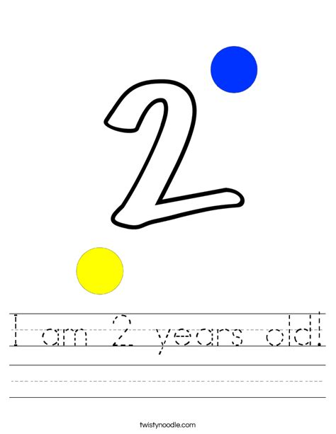 2 Year Worksheets by I Am 2 Years Worksheet Twisty Noodle