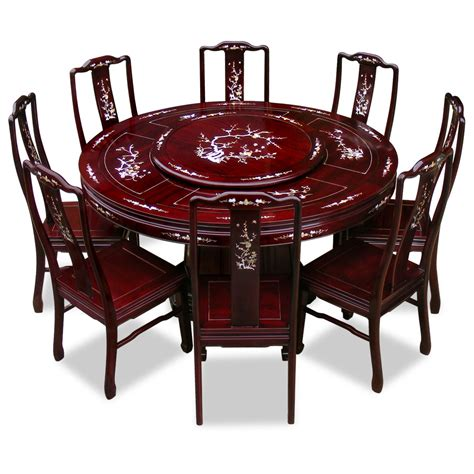 Dining Tables 8 Chairs 60in Rosewood Pearl Inlay Design Dining Table With 8 Chairs