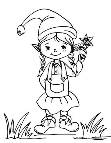 cute elf coloring pages cute girl elf coloring page christmas pinterest