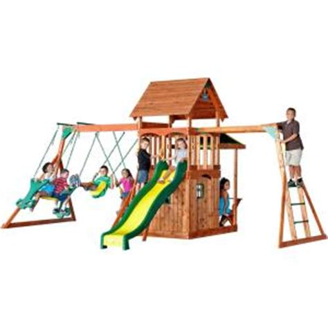 saratoga cedar swing set backyard discovery saratoga all cedar playset 30011com