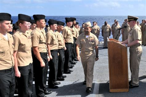 anthony rene st clair tahourdin petty officer advancement ceremony aboard uss mustin