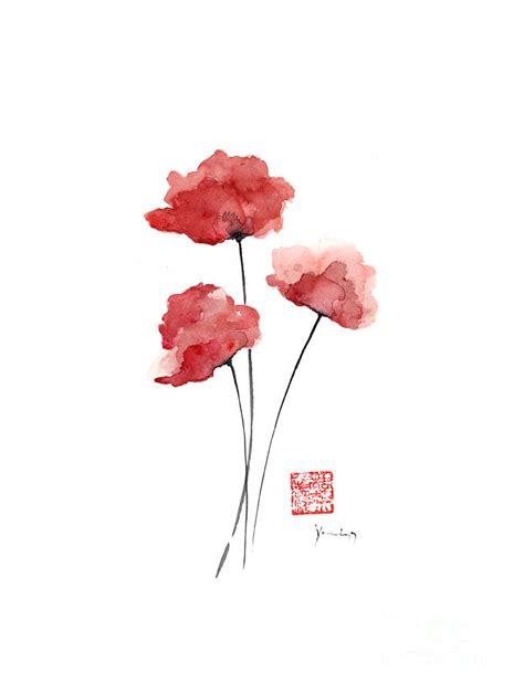 Draw Plans Online poppies flowers orange red poppy flower watercolor