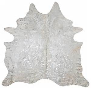 White Silver Cowhide Rug Devore Metallic Silver Cowhide Rug Contemporary Rugs