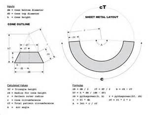Sheet Metal Cone Template cone frustum truncated cone calculator