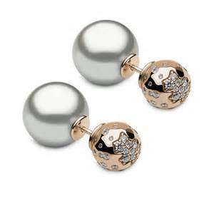front and back earrings yoko front back earrings in gold and diamonds with two grey tahitian pearls