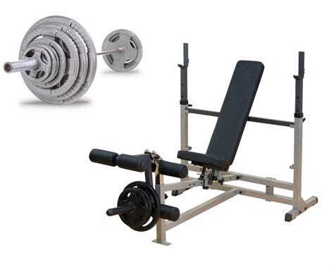 bench pressing weights body solid starter bench press package