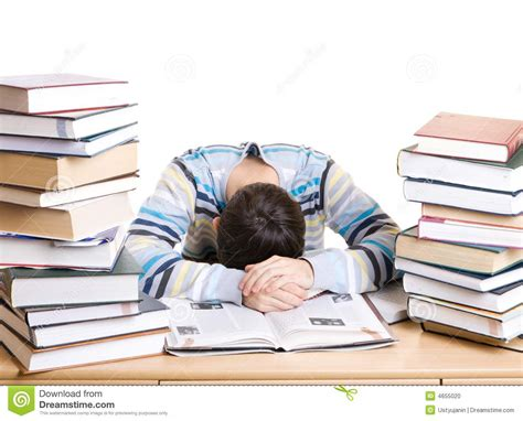the sleeping books the sleeping student with books isolated stock photo