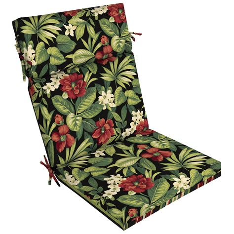 Black Patio Chair Cushions Shop Garden Treasures Black Floral Tropical Standard Patio Chair Cushion At Lowes
