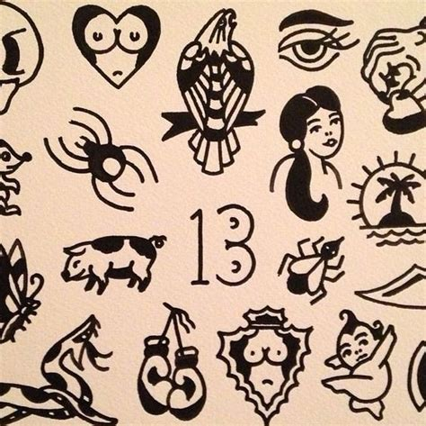 small tattoo flash traditional flash gap fillers by oliver