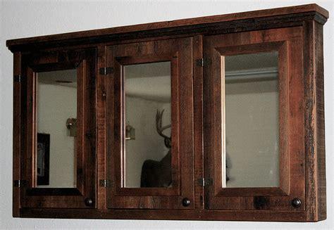 barnwood triple mirror medicine cabinet barn wood
