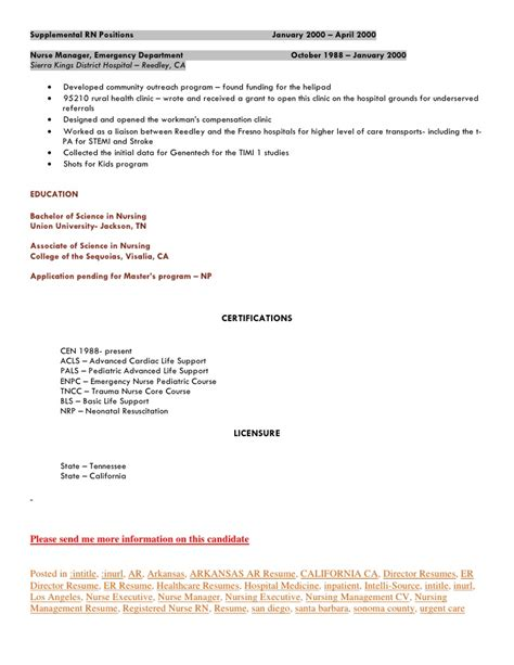 Emergency Department Resume Emergency Department Director Seeking California Or Arkansas Post Med