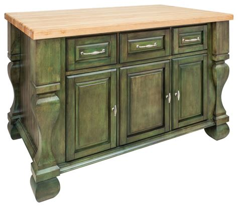 Kitchen Islands With Drawers Antique Green Island With Three Drawers Cabinets Rustic