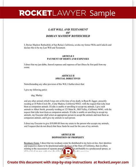 Will For Single People With No Children Last Will And Testament Template For Single Person