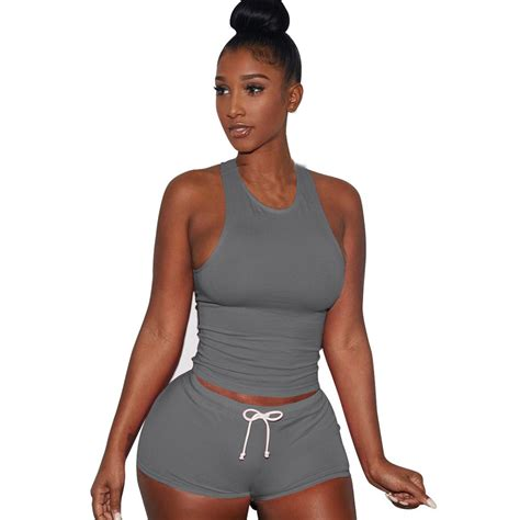 gray 2 set shorts crop tops 2018 summer