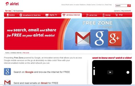 Free Search Services Airtel Ties Up With To Offer Free Search And Gmail Services