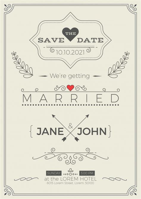 Wedding Invitation Card Ai Template by Vintage Wedding Invitation Card Template With Clean