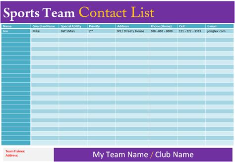 sports team roster template contact list template sports team dotxes