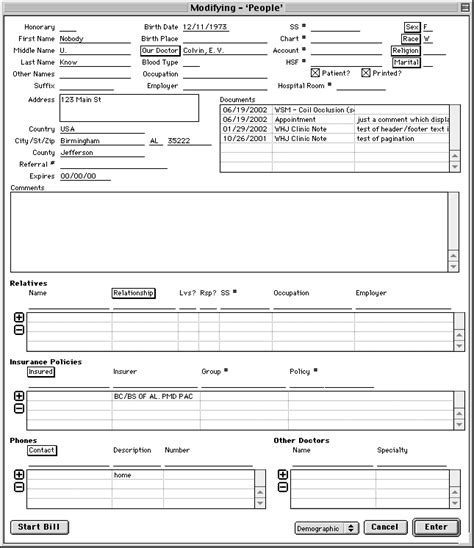 patient database template patient record form template