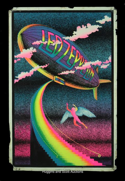 1970 black light posters 2 early 1970s led zeppelin original black light posters