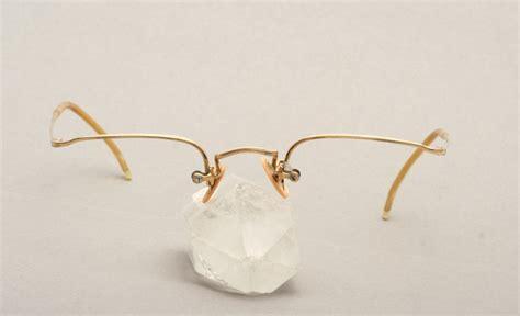 antique half rimless smaller eyeglasses gold filled by