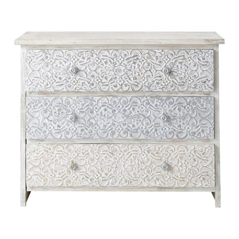 commode indienne commode indienne sculpt 233 e en manguier massif blanche l 100