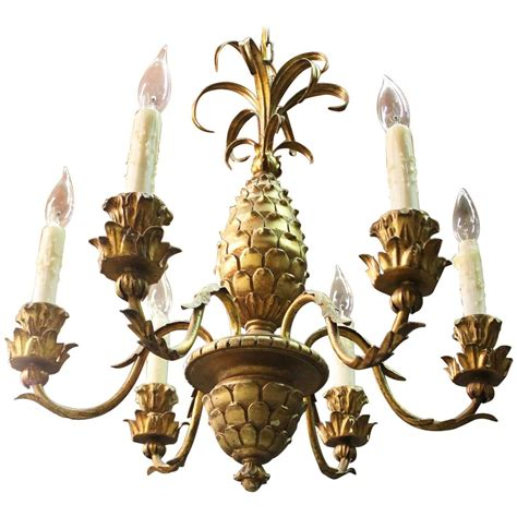 Pineapple Chandelier Italian Carved Giltwood Pineapple Chandelier At 1stdibs