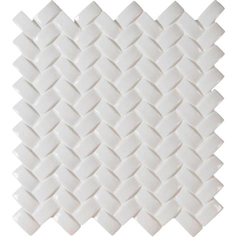 ms international whisper white arched herringbone 12 in x
