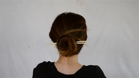 How To Put Your Hair Up With Chopsticks 6 Steps With