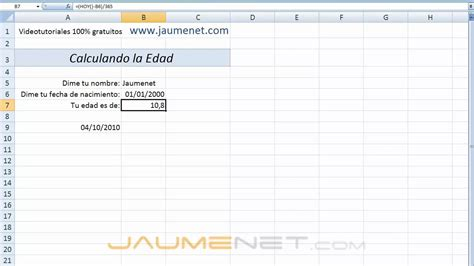 excel  calculando la edad youtube