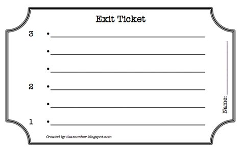 I Is A Number 321 Exit Ticket Exit Template