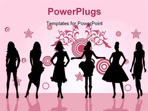 free fashion powerpoint templates fashion posing in front silhouette illustration