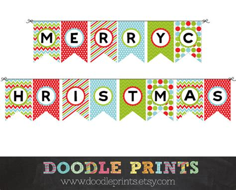 printable xmas banner items similar to merry christmas banner instant download