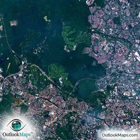 satellite map of singapore singapore satellite map print aerial image poster