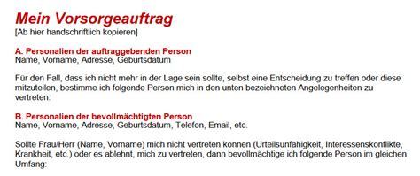 Muster Vorsorgeauftrag Schweiz Ein Vorsorgeauftrag Sch 252 Tzt Sie Vor Der Kesb