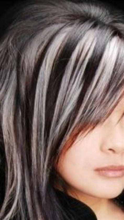 black and silver low lights brown hair with highlights and lowlights chunky blond