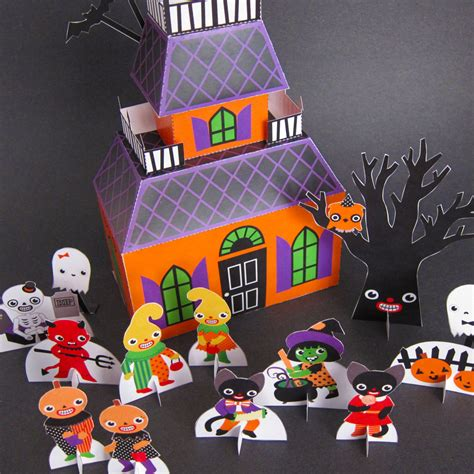 crafts pdf haunted house playset printable paper craft