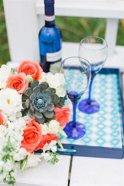 Coral, Teal and Royal Blue Bohemian Beachside Wedding