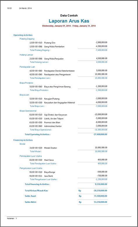 contoh laporan zahir contoh laporan arus kas software zahir accounting