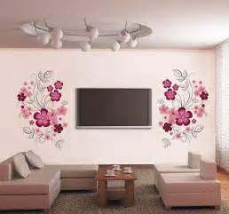 beautiful pink flower wall art stickers living room mirror sticker wall decor ideas for spacious room design