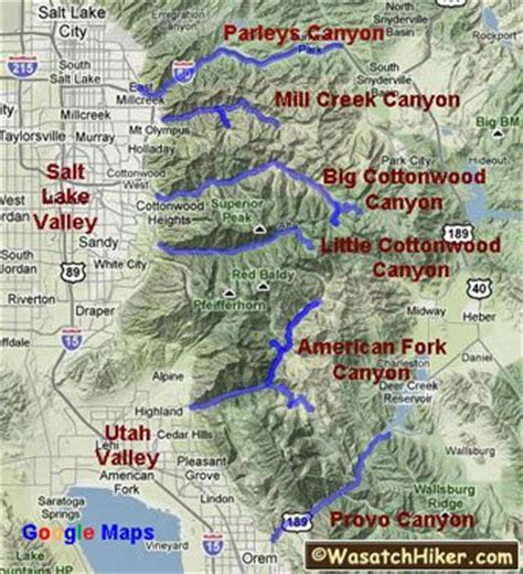 wasatch mountains map hiking in utah s wasatch mountains